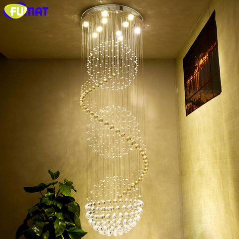 $310.73- K9 Crystal Chandelier Ceiling Modern Artistic Spiral Crystal Lamp Hotel Lustre Stair Led Large Hanging Lamp Light Fixtures