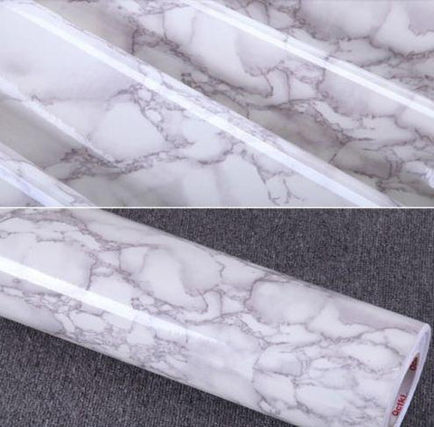 $45.12- Gray Marble Waterproof Vinyl Self Adhesive Wallpaper Sticker Modern Contact Paper Kitchen Countertop Shelf Drawer Liner Diy 3D