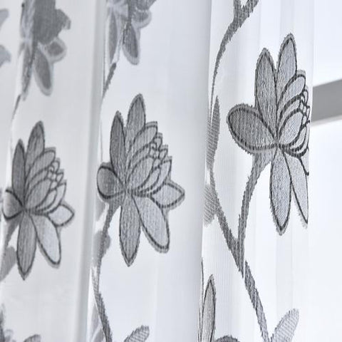 $9.50- Flower Tulle Curtains Fashion Window Treatments White Organza Tulle Fabrics Ready Made Jacquard Kitchen Door Curtains Panel