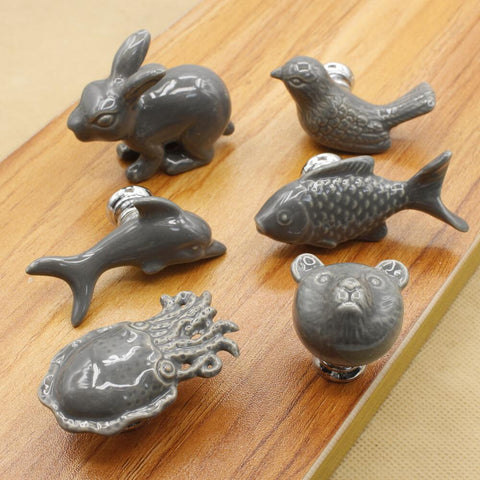 Cute Cartoon porcelain drawer Knobs and Handles For Kid Rooms Cabinet Door Knob Cupboard Drawer Wardrobe Pull in Grey Color