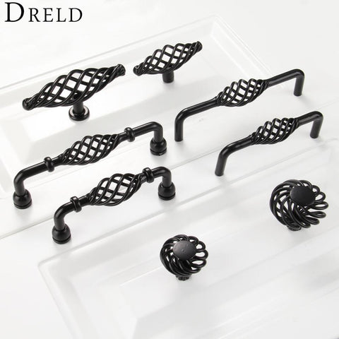 Furniture Handles Black Birdcage Wardrobe Door Pull Dresser Drawer Handle Kitchen Cupboard Handle Cabinet Knobs and Handles