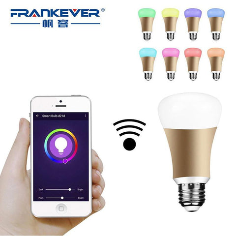 Frankever E27 5W Wifi Smart Light Wireless Home Automation Switch Alexa Echo Rgb Color Smart Bulb Lamp Remote W/ Smartphone