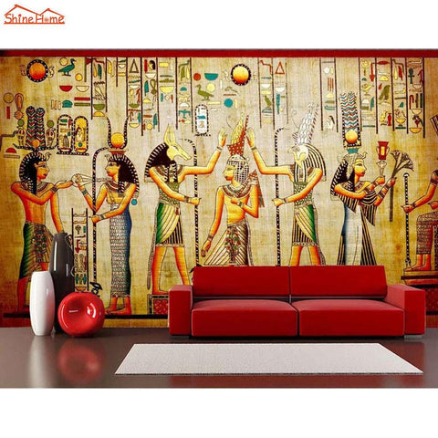 $23.22- ShinehomeClassical Egyptian Dancing Figures Vintage Room Wallpaper 3D Wall Livingroom 3 D Mural Rolls Wall Paper Bedroom Decor