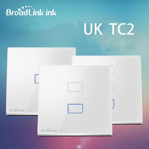 Broadlink Tc2 1/2/3 Gang Intelligent Wifi Wall Light Wireless Touch Screen Switch Panel 433Mhz Uk Standard Smart Home Automation