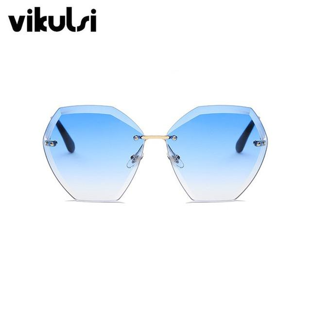 $15.30- Transparent Gradient Sun Glasses Women Sunglasses Elegant Optics Rimless Lunette Femme Lady Oversized Famous Brand Designer