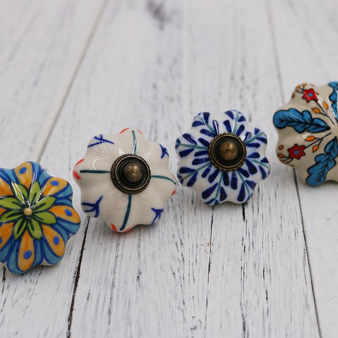 $7.52- 1x Kids room Drawer Knob Handle Colorful Pumpkin style Dresser Pull Ceramic Kitchen Cabinet Handle Knob Furniture Hardware