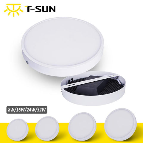 $14.57- TSunrise UltraThin 8W/16W/24W/32W Round Square Panel Led Aluminum Led Panel Light Surface Mounted Downlight Ceiling Down Lamp