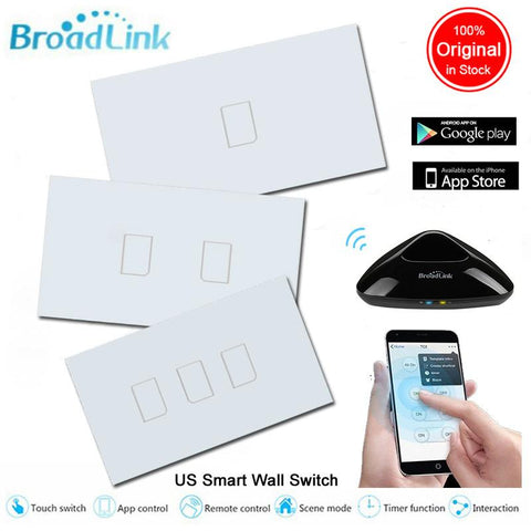 $41.22- Broadlink Tc2 Smart Home Us Standard 1 2 3 Gang Wireless Wall Light Control Wifi Switch 220Vtouch Panel Switchhome Automation