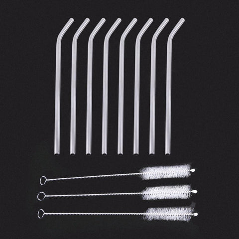 1 Set Drink Straws 8 X Stainless Straws3 X Cleaning Brushes Reusable Cleaning Cleaner Brush For Kitchen Party