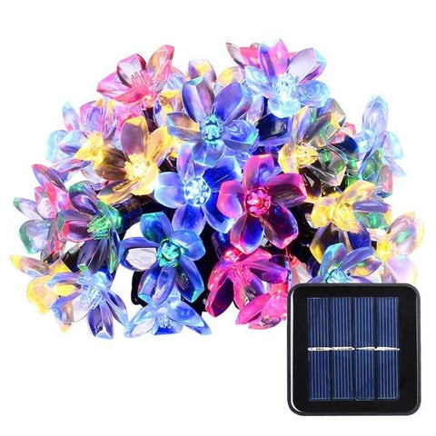 $19.57- Solar Sun String Lights 50 Led Blossom Flower Fairy Light Christmas Lights For Outdoor Led Garland Patio Party Wedding Decoration