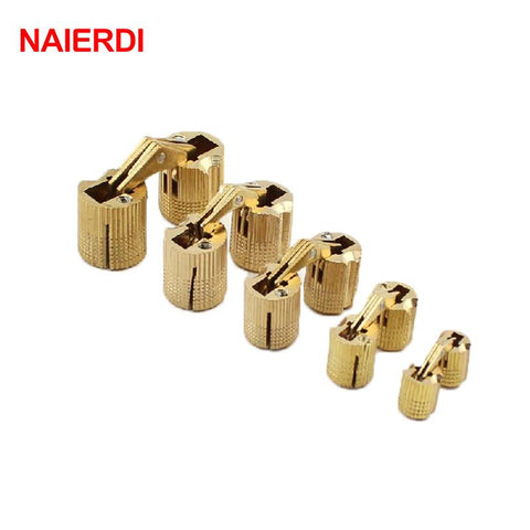Naierdi 4Pcs 8Mm Copper Barrel Hinges Cylindrical Hidden Cabinet Concealed Invisible Brass Hinges Mount Door Furniture Hardware