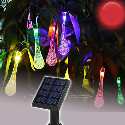 $29.41- Solar Sun Fairy Led String Water Drop 50 Leds 7 Meters Garland Christmas Solar Sun Lights For Outdoor Wedding Garden Party Decoration