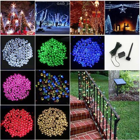 100 Led String Lights Solar Sun Light Columnar Holiday Decoration Lamp Festival Christmas Lights Outdoor Lighting