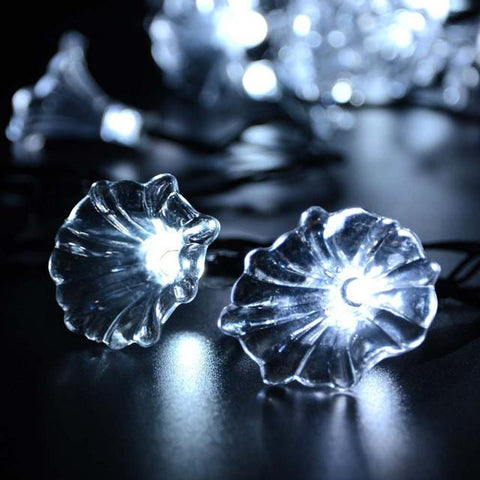 $26.13- 20 Led Solar Sun Powered Crystal Morning Glory String Lights Lamp For Indoor Outdoor Garden Home Wedding Christmas Party Lighting
