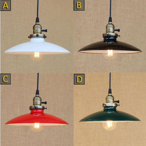 $72.00- Loft Retro Industrial Iron Vintage Hanging Light Knob Switch Lustre Pendant Lamp Fixture Black White Green Red Lampshade Shade