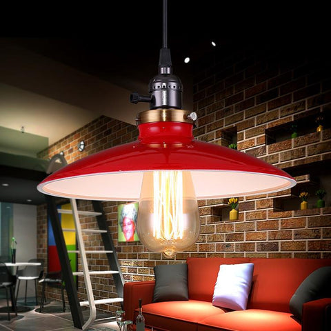$87.40- Loft E27*1 Industrial Lamp Pendant Lights Lamp Shades Industrial Lamps Vintage Edison Bulb Light Fixture Pendelleuchten Bar 03