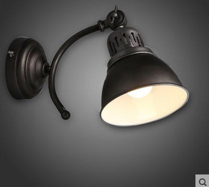 Loft Style Led Vintage Industrial Wall Lamp W/ Black Shade Wall Sconceled Wall Light Arandela De Pared