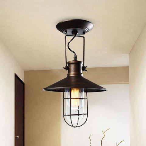 $93.64- American Country Village Retro Ceiling Lights Corridor Balcony Loft Lamp Iron Spray Painting Process W/ Glass Lamp Shade
