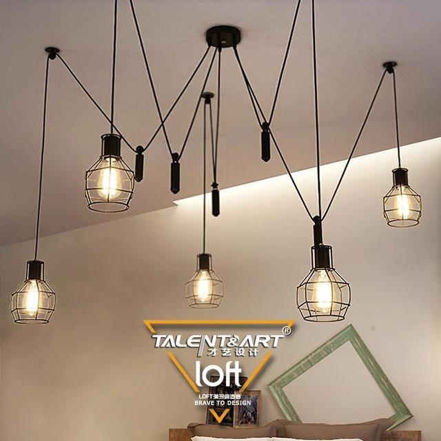 Buy 110240V E27*5 Loft Vintage Style Black Industrial Pendant Lights ...