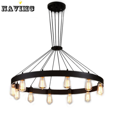 $318.04- Industrial American Loft Vintage Warehouse Black Iron Pendant Lights Lamp For Dining Room Restaurant Decoration Black Lighting