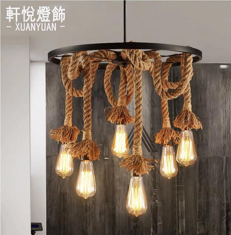 $232.90- Lamps The Simple Art Cafe Bar Creative Lighting American Retro Restaurant Three Head Rope Industrial Wind Chandelier Personalize