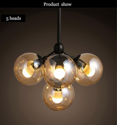 Magic Round Glass Ball Vintage Hanging Light Led Industrial Beans Droplight Mordern Loft Dna Retro Classic Pendant Lamp Light