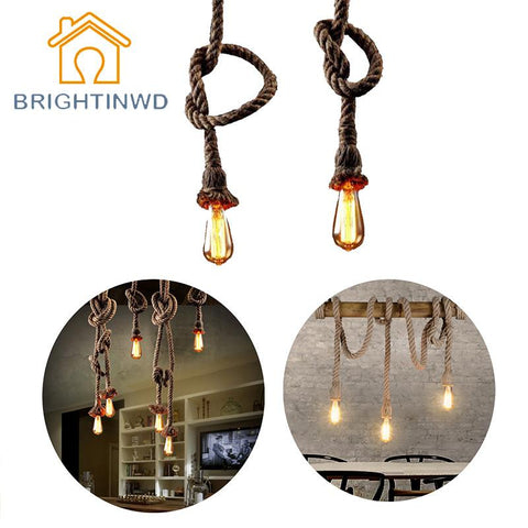 E27 Retro Vintage Rope Pendant Light Lamp Loft Creative Personality Industrial Lamp Edison Bulb American Style For Living Room