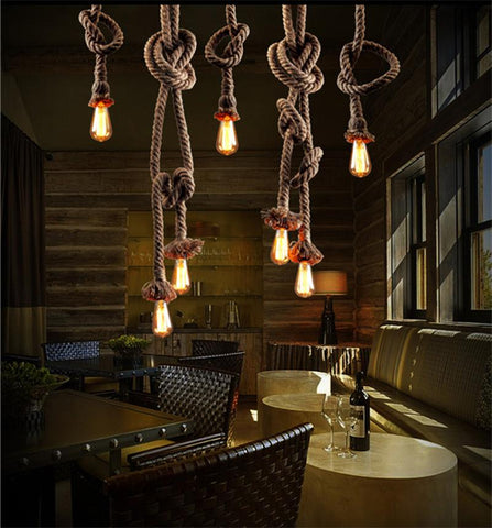 Vintage Rope Pendant Light Lamp Loft Creative Personality Industrial Lamp Edison Bulb American Style For Living Room W/ Bulb