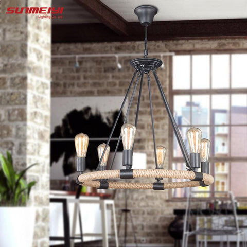 $175.58- Retro Vintage Rope Pendant Light Lamp Loft Creative Personality Industrial Lamp Edison Bulb American Style For Living Room