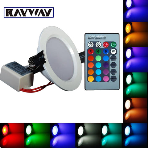 $16.44- Rayway 3W 10W Ultrathin 24 Colors Led Rgb Ceiling Light Ac85265V Led Panel Down Light Lamps Round Shape W/ Remote Control