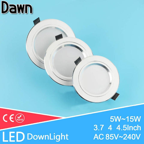 Silver White Ac 110V 220V Led Downlight 5W 7W 9W 12W 15W Showcase Light Lamp Round Led Ceiling Recessed Light Spot Down Light