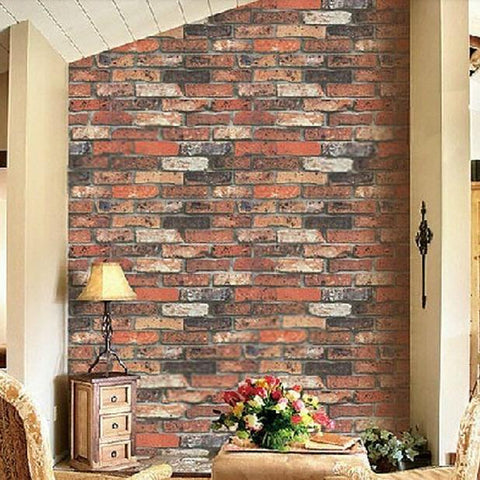 $46.94- Vintage Natural Brick Wallpaper 3D Effect Realistic Faux Shabby Red Brick Wall Wallpaper Bathroomhallwaybackground Wallpaper