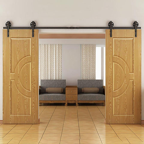 $137.04- 5Ft /6Ft / 8Ft / 10Ft / 12Ft Vintage Strap Industrial Wheel Double Sliding Barn Wood Door Hardware Track Kit