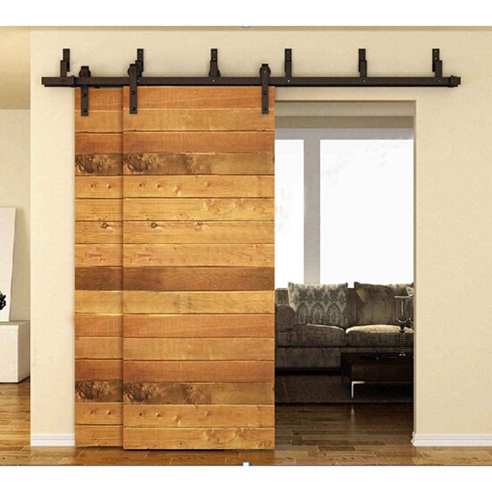 $542.28- 183Cm / 200Cm Bypass Sliding Barn Wood Door Hardware Interior Sliding Door Black Rustic Sliding Track Kit