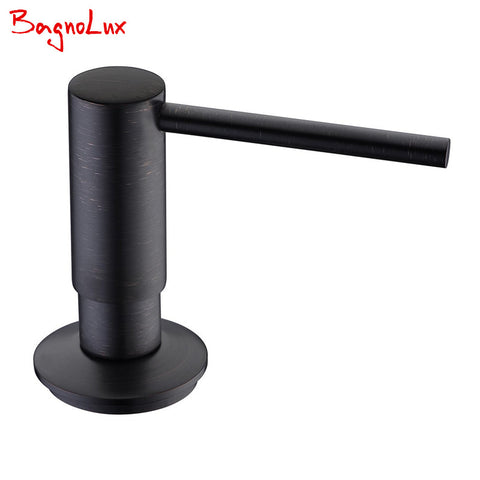 $34.38- Bagnolux Direct Oil Rubbed Bronze Solid Brass Matte Black Kitchen Soap Dispenser Commercial Orb Lotion Dispenser W/ Abs Pump