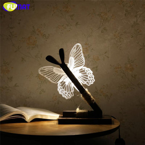 $88.15- 3D Acrylic Butterfly Lamp Creative Lovely Butterfly Wooden Base Decor Bedside Table Lamp Table Lampara Xmas Gift Brithday