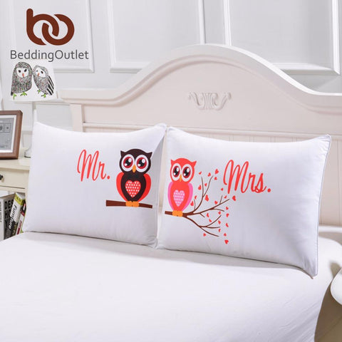 $18.01- Beddingoutlet Body Pillowcase Mr Mrs Owls Romantic Pillow Case Soft Pillow Cover Valentine'S Day Gift Home Textiles One Pair