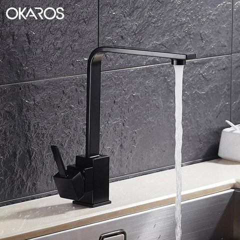 $71.26- OKAROS New Design Kitchen Faucet Quartz Stone Brass Body 360 Degree Rotation Vessel Sink Basin faucet Hot Cold Water Mixer Tap