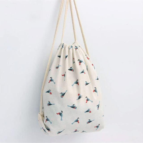 Fresh Style Drawstring Backpack Women Bag Printing Backpack Summer Beach Bag Girls Children School Bag Tote Sacks String Bags