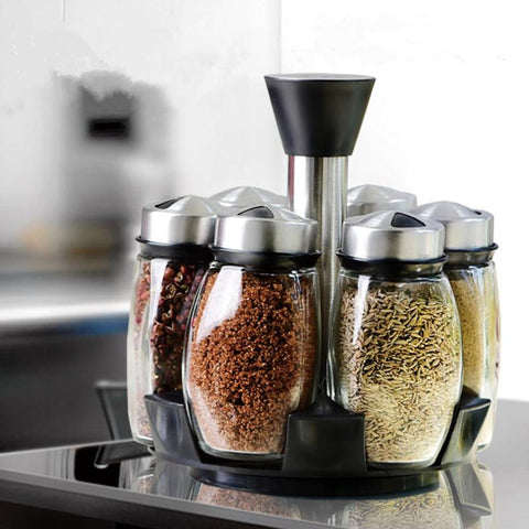 $77.22- 7Pcs/Set Condiment Set Pepper Salt Cruet Glass Kitchen Spice Rack Set6Pcs Jars 1Pc Rackcooking Tools High Quality.