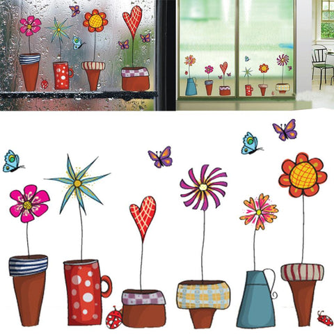 $3.33- Cute Cartoon Flower Butterfly Wall Stickers Diy Decal Window Glass Wall Decor Home Decoration Kids Children Room Decor