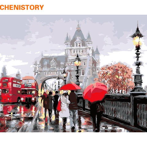 $17.05- Chenistory Europe City Landscape Diy Painting By Numbers Modern Wall Art Canvas Painting For Home Decoration 40X50Cm Artwork