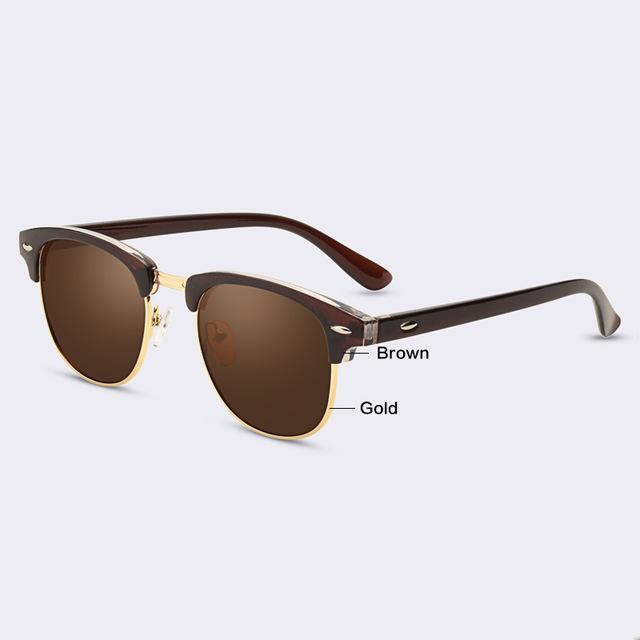 $14.85- Aofly Classic Half Metal Sunglasses Men Women Brand Designer Glasses G15 Coating Mirror Sun Glasses Fashion Oculos De Sol Ps1580