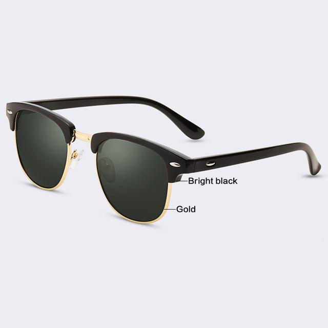 $15.53- Aofly Classic Half Metal Sunglasses Men Women Brand Designer Glasses G15 Coating Mirror Sun Glasses Fashion Oculos De Sol Ps1580