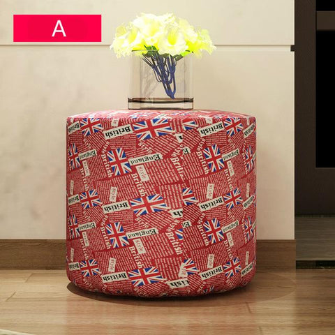 British Style Fashion Home Office Furniture Cloth Art Stool Chair Soft Lining Fabric Stool Portable Living Room Shoes Stool