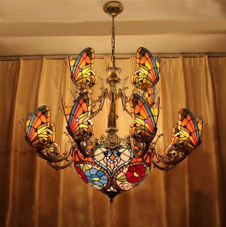 $1588.43- Glass Art Chandelier Stained Glass Butterfly Lamp Indoor Lightings European Style Hotel Bar Living Room Light Fixtures