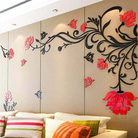 $29.88- 3D Flower Rattan Wall Stickers Home Decor Living Room Art TV Background Acrylic Mirrored Decorative Sticker Wall Decoration