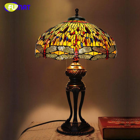 Stained Glass Table Lamp Antique Dragonfly Living Room Bedside Lamp Led Glass Art Lamp Office Studio Stand Light Fixtures