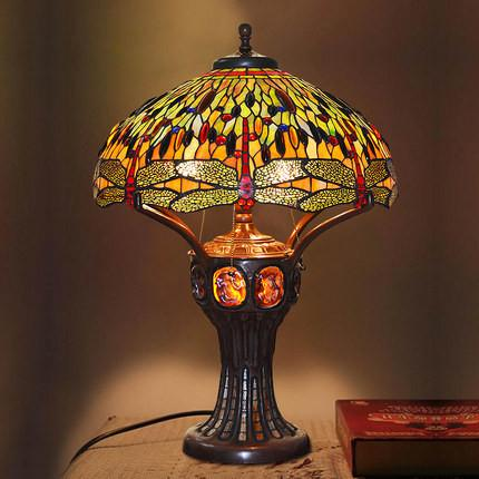 $1184.05- Stained Glass Table Lamp Antique Dragonfly Living Room Bedside Lamp Led Glass Art Lamp Office Studio Stand Light Fixtures