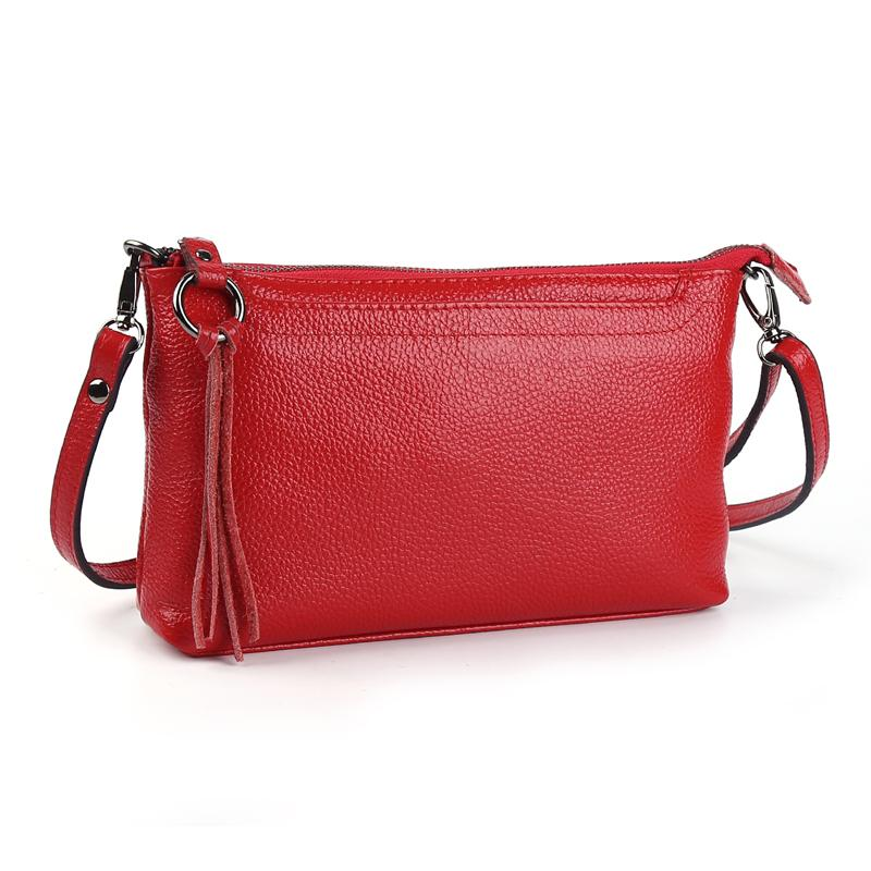 $40.71- Cowhide Genuine Leather Women Messenger Bags Tassel Crossbody Bag Female Fashion Shoulder Bags For Women Clutch Small Handbags